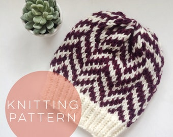 Instant Download Knitting Pattern Womens Hat Pattern Fair Isle Hat Pattern Pom Pom Hat Pattern  Knit Hat Pattern Women's Accessories