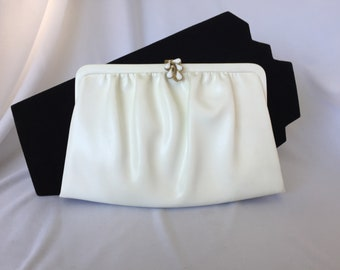 Vintage, White Leather Clutch. Gold Tone and Milk Glass Detailing.