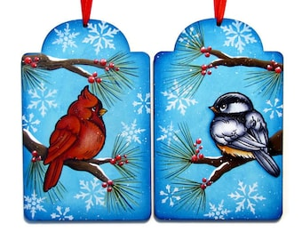 Cardinal or Chickadee Wall Art or Ornament, Handpainted Wood, Hand Painted, Tole Decorative Painting