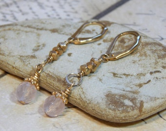 Gold Rose Quartz Earrings
