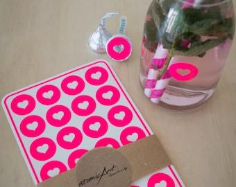 24 Heart Stickers in Neon Fluorescent Hot Pink - Envelope Seals - Wedding invitations & favours - Scrapbooking - Birthdays - Hershey Kiss