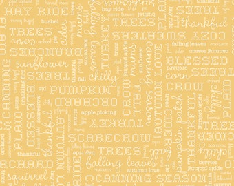 Autumn Love by Lori Holt Text Yellow (C7361-YELLOW)