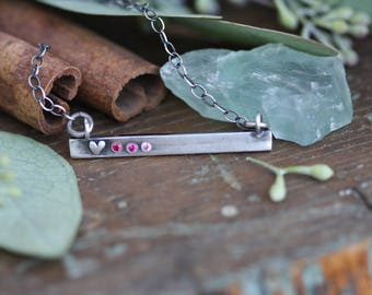 Sterling silver hand moulded heart Personalized bar necklace set with gemstones