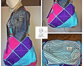 Bag color fuchsia, turquoise and purple, very trendy crochet granny