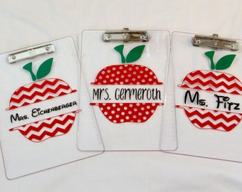 Apple Monogram Vinyl Teacher Clipboard