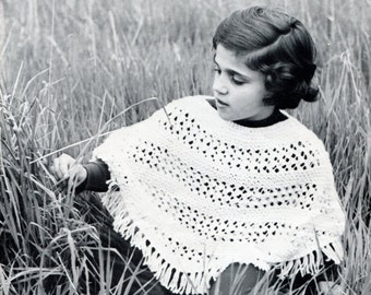 1960's Poncho for Girls Sizes 4/6..8/10 Knitting Pattern Instant Download PDF