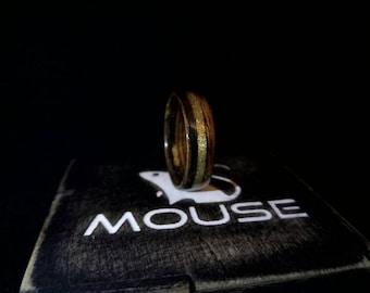 Wooden Wedding Band in Ebony Macassar Womens Ebony Ring Womens Wooden Ring Wood Engagement Ring Custom Womens Ring  Ebony Brass Inlay Ring