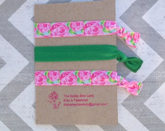 Lilly Inspired Rose Impression Hair Ties-Lilly Hair Ties-Rose Hair Ties-Elastic Hair Ties-Hair Ties-Ponytail Holders-Lilly Inspired