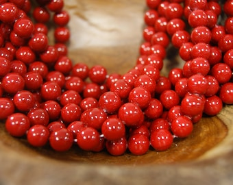 Polished Scarlet  6mm 8mm 10mm Round Shell Pearl Beads -15 inch strand