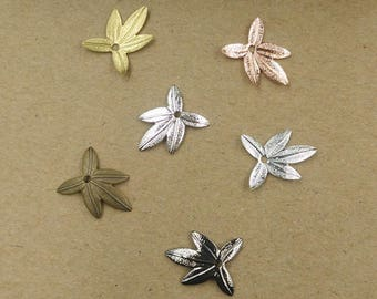 Wholesale 100 Brass Filigree Maple Leaf Component 11x14mm Raw Brass/ Antique Bronze/ Silver/ Gold/ Rose Gold/ White Gold/ Gun-Metal Plated