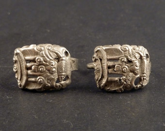 Chinese antique silver earrings, Asian ethnic earrings, Ethnic Tribal jewelry, Hill Tribe silver