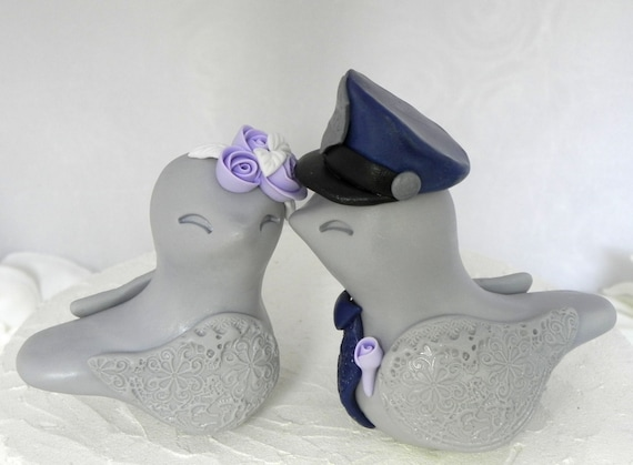 Love Birds Wedding Cake Topper Police Officer Gray Navy Lilac Bride and Groom Keepsake You Choose Colors