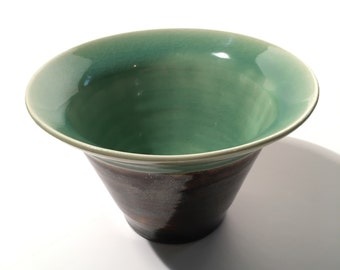 Ceramic bowl - celadon green and brown, handthrown, medium-size
