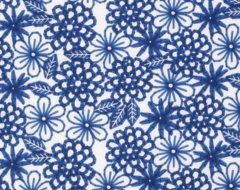 Navy Blue Florals on Paper White Cotton Fabric by the half yard