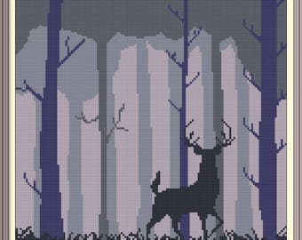 Forest and Deer Modern Cross Stitch Pattern PDF Chart Black Silhouette