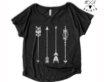 FLASH SALE, Womens Arrow Shirt - Oversized - Off Shoulder - Dolman - Vintage Clothing - Art - Ladies - Tops and Tees