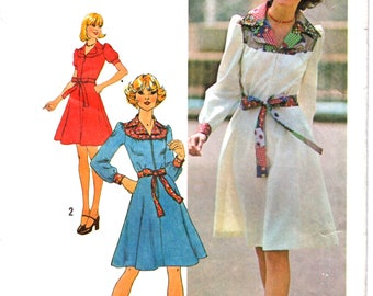 Simplicity 7130 Woman's Knee and Mini Length Yoked Shirt Dress with Fabric Belt Sewing Pattern Size 14 Vintage 1970s UNCUT