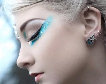Bridesmaid Gift Swarovski Earrings - Silver Post Earrings for Sensitive Ears - Hypoallergenic Wing Earrings