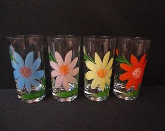 Vintage Tumblers Juice Mixed Drink Glasses Painted Flowers Daisies