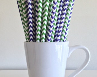 Purple and Green Chevron Paper Straws Party Supplies Party Decor Bar Cart Cake Pop Sticks Mason Jar Straws Graduation