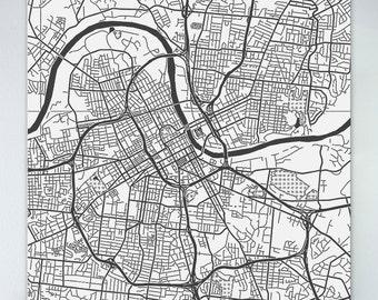 Map of Nashville large canvas city maps street map vintage