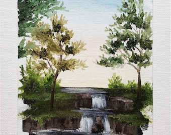 """Original oil painting, landscape, small painting, """"Sunset at the Falls 1"""""""