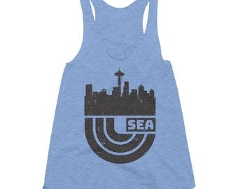 Retro Seattle T-Shirt | Seattle Skyline Tee | Women's Tri-Blend Racerback Tank
