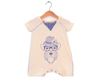 Baby Overall Hoodie - Animal prints -Charming Schnauzer