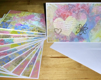 Set of 12, Blank Notes, Handmade, Cards, Multi-color, Collage, Stationery, Hearts, Gift, All Ocassion