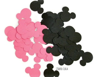 "120 Mixed Pink & Black Mickey Minnie Head 1"" Confetti, Cut outs - Set of 120 pcs"