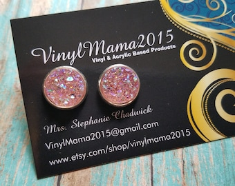 Grapefruit Faux Druzy Earrings - Druzy Stud Earrings - Druzy Studs - Country Girl Earrings - Bridesmaid Gift - Gifts For Her