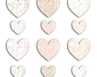 Embellishment - Die-cuts hearts pink and beige - 60 pcs - 4.3 x 4.2 cm - TOGA