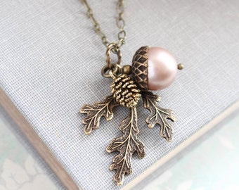 Almond Blush Pearl Acorn Necklace Acorn Charm Pendant Bridesmaid Gift Nature Pinecone Branch Leaf Rustic Oak Woodland Wedding Autumn Jewelry