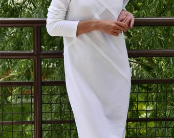 FOG - 100% cotton dress with stitching / midi dress / vintage dress / simple dress / unique dress / white dress / dress with sleeves