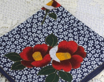 Vintage Hankie - Large, Stunning, Navy Blue, Red, Yellow, Green Flower NEAT!  #B-55