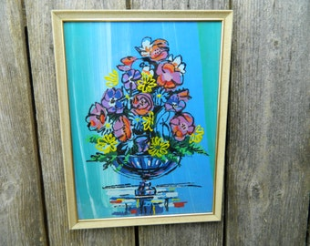 Vintage Mid Century Modern Paint By Number Flowers in a Vase