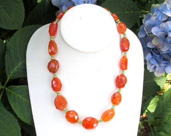 Faceted Carneliand & Chrysoprase Necklace with Gold Vermeil Beads - Handmade Nature Gemstone Jewelry