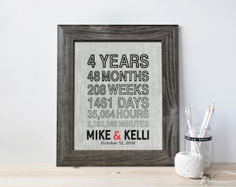 4th anniversary gift for men, Fourth wedding anniversary, months weeks, 4 Years Together, gift for husband wife, days hours