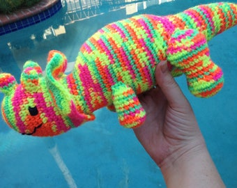 Neon Stuffed Animal, Glowing Triceratops, Dinosaur Toy, Dinosaur Nursery, Dinosaur Decor, Soft Dinosaur, Dinosaur Birthday, Neon Three Horn