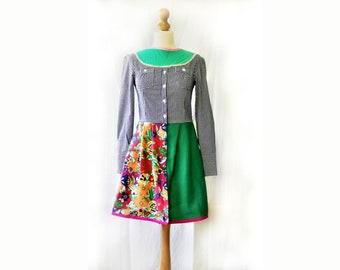 Day Dress, Flared Dress, Green Dress, Teenage Dress,Classic Dress, Womens dress, Cool Dress, Dress XS, Cool Dress, Retro Day Dress,day Dress