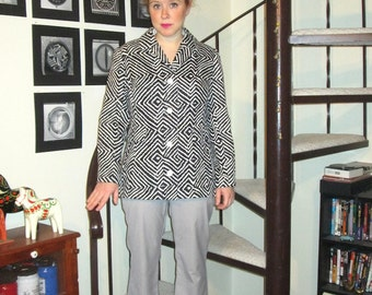 Vintage black and white chevron coat - medium