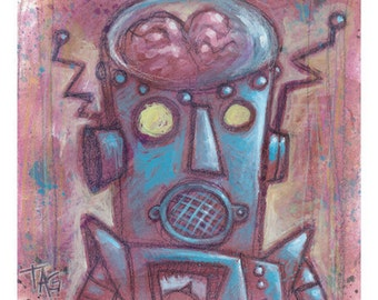 Original Robot 4 painting by Tom Taggart