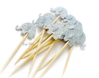 Double sided Glitter light Blue Elephant Cupcake Toppers, Food Picks