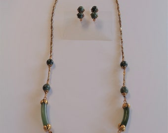 Vintage Miriam Haskell Jade Green & Gold Necklace and Earrings Set