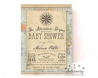Adventure Baby Shower Invitation Around the World Baby Shower Invite Vintage Travel Baby Shower Invitation Printable OR Printed No.1269BABY