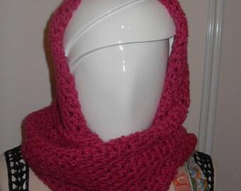 fuchsia crochet snood