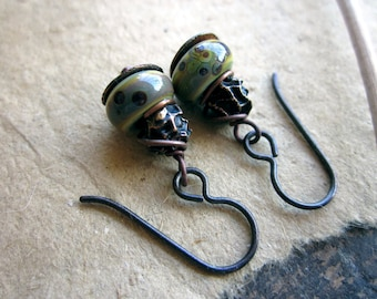 Organic earrings, Bronze form organic seed pod Handmade lampwork glass rainbow beads Hypoallergenic niobium ear wires - Spore
