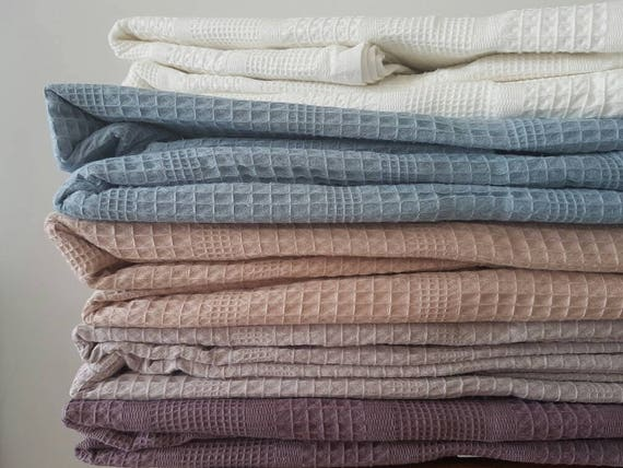 Exceptional Organic Cotton Blanket   Waffle Blanket Throw   Large Natural Bedspread    Cozy Christmas Gift   Natural Waffle Bedding   Textured Coverlet