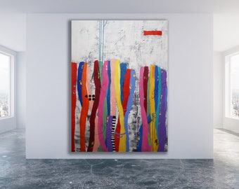 XL Colorful Abstract Painting / Modern Art / Abstract Art / Texture Painting / Extra Large Abstract Art