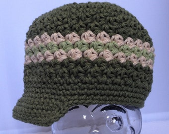 Crocheted Newsboy Hat RTS Ready to ship Newborn, 3-6, + 12-24 Month sizes Olive Green, Beige, Country Green Skater Newsboy Brimmed Hat